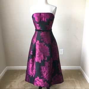 Strapless high lo jacquard fit and flare dress